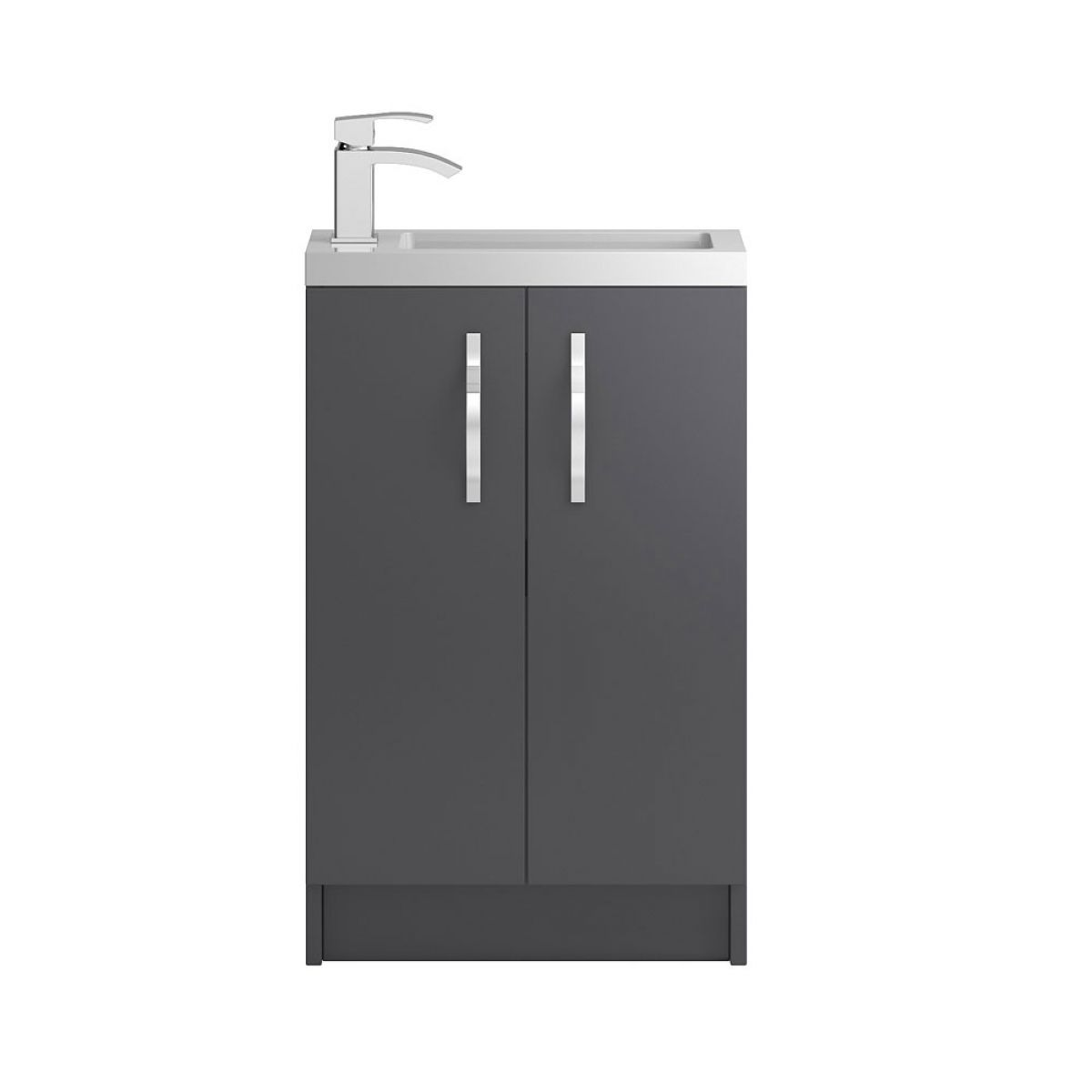 Hudson Reed Apollo Compact Gloss Grey Floor Standing Vanity Unit 500mm