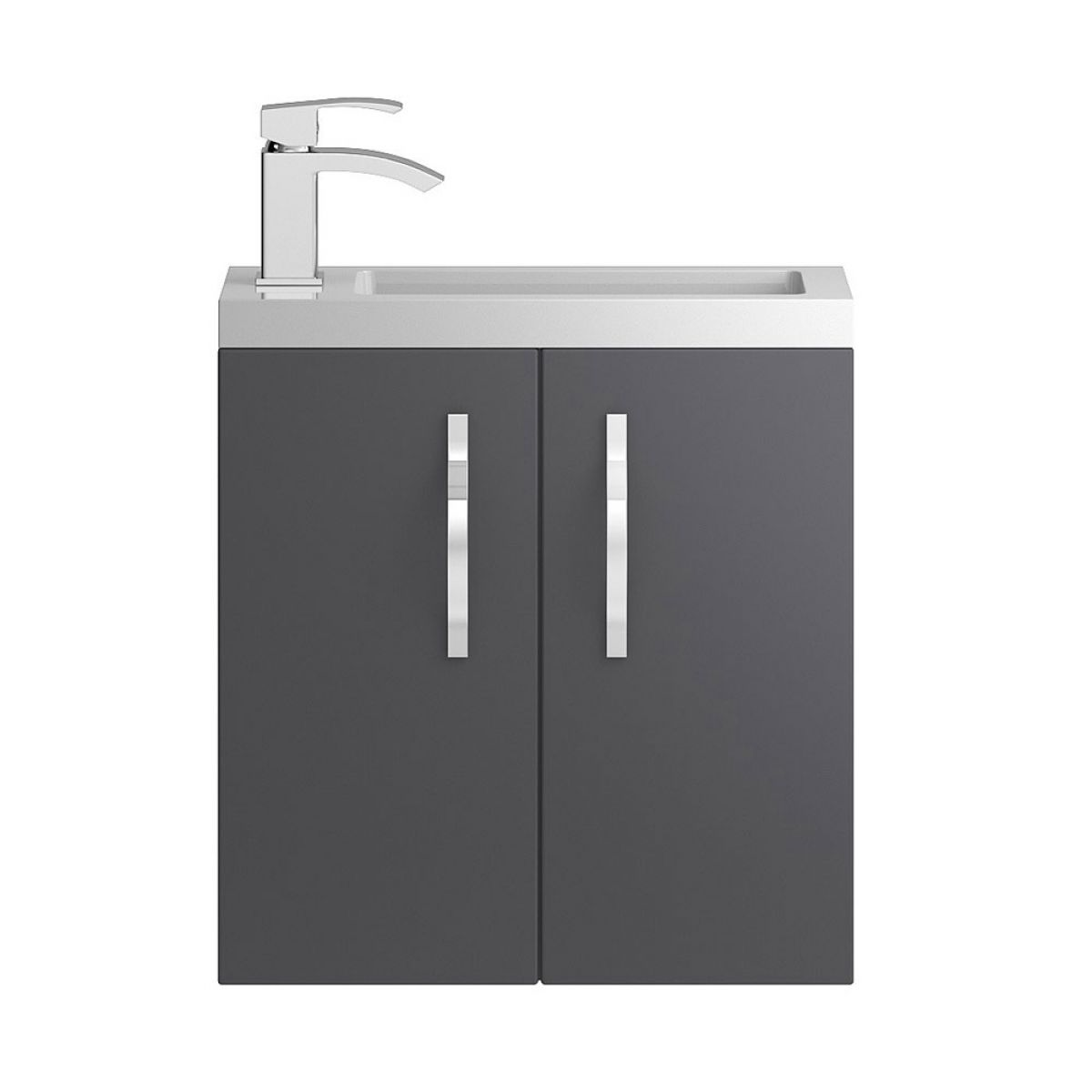 Hudson Reed Apollo Compact Gloss Grey Wall Hung Vanity Unit 500mm