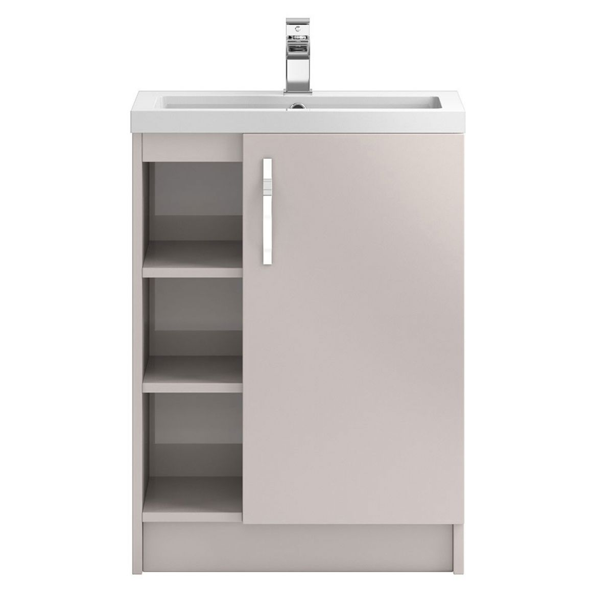 Hudson Reed Apollo Gloss Cashmere Floor Standing Open Vanity Unit 600mm