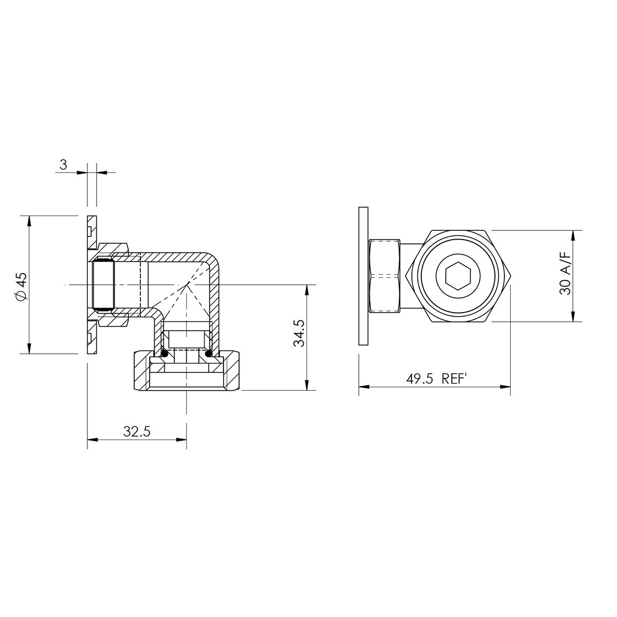 Hudson Reed Back To Wall Shower Elbow Line Drawing