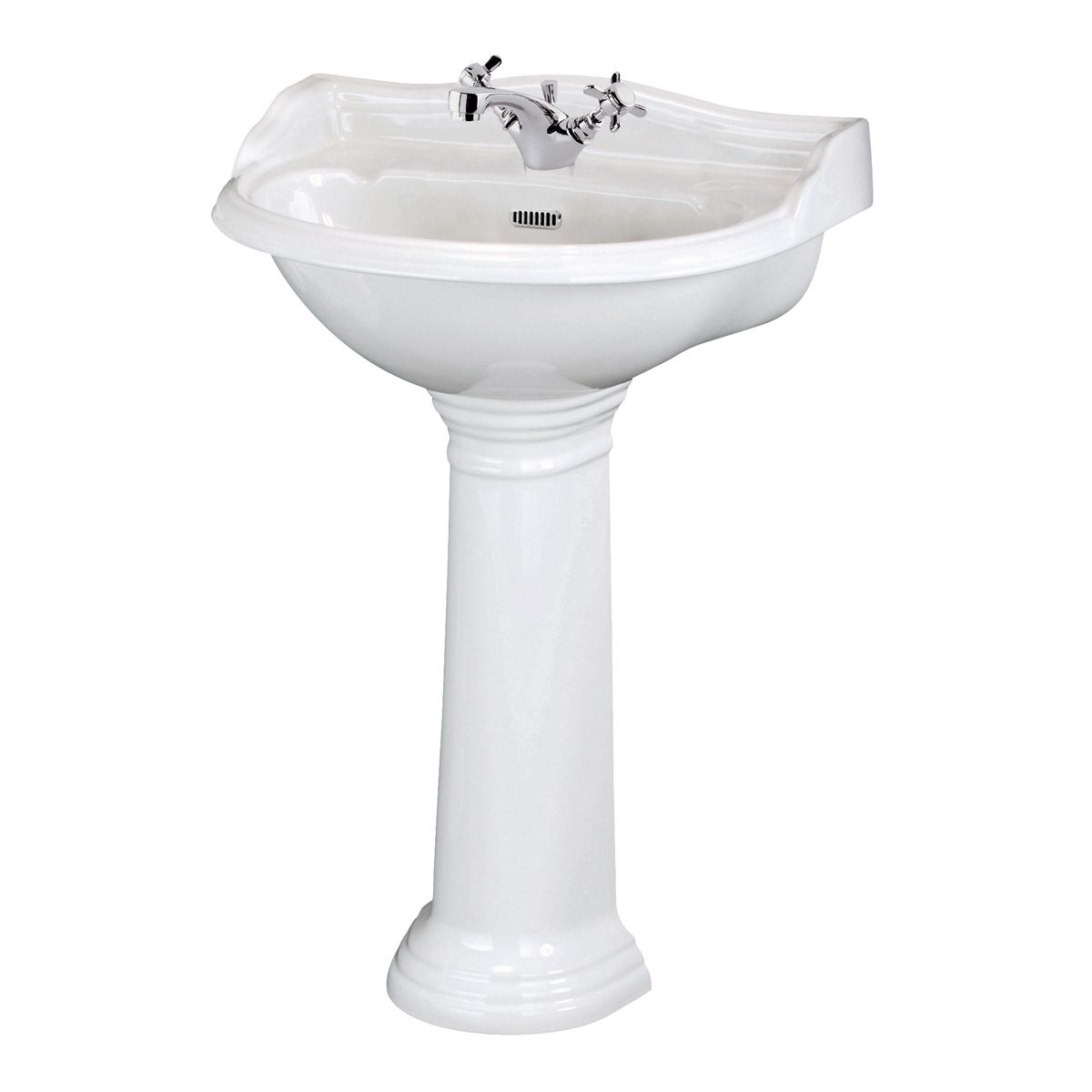 Hudson Reed Chancery 1 Tap Hole Basin with Full Pedestal