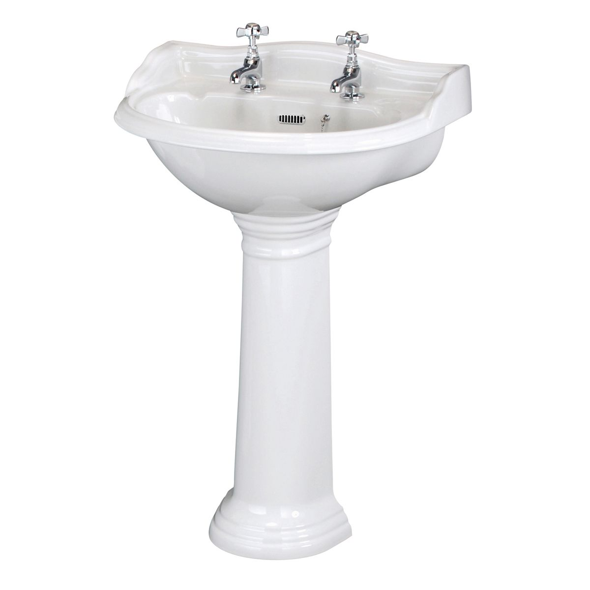 Hudson Reed Chancery 2 Tap Hole Basin with Full Pedestal
