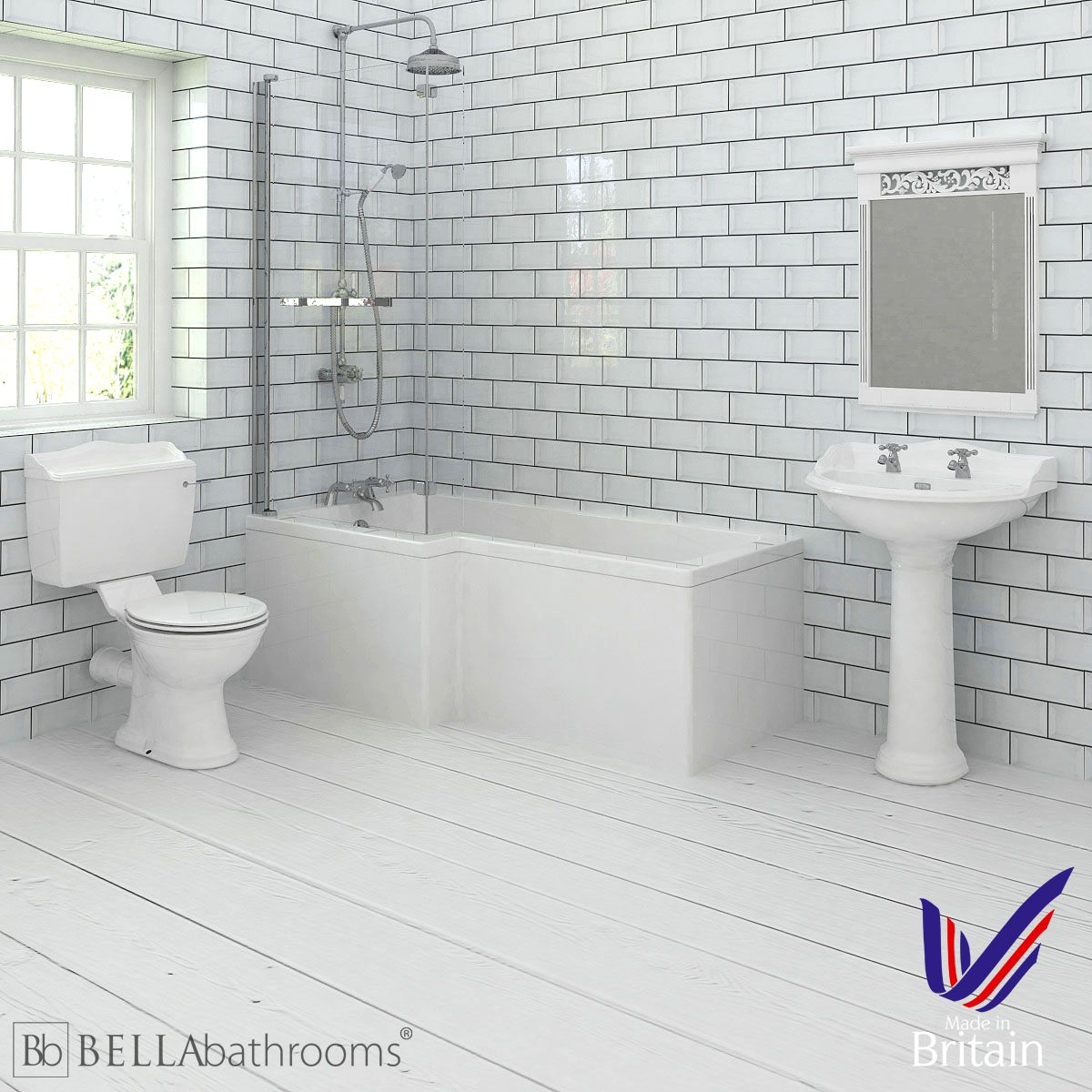 Hudson Reed Chancery Left Handed L Shape Shower Bath Suite
