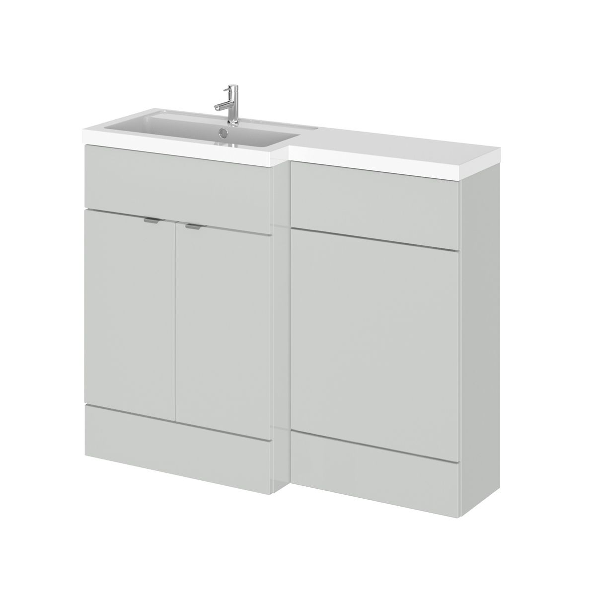 Hudson Reed Fusion Gloss Grey Mist Full Depth Combination Furniture Pack 1100mm Left Hand
