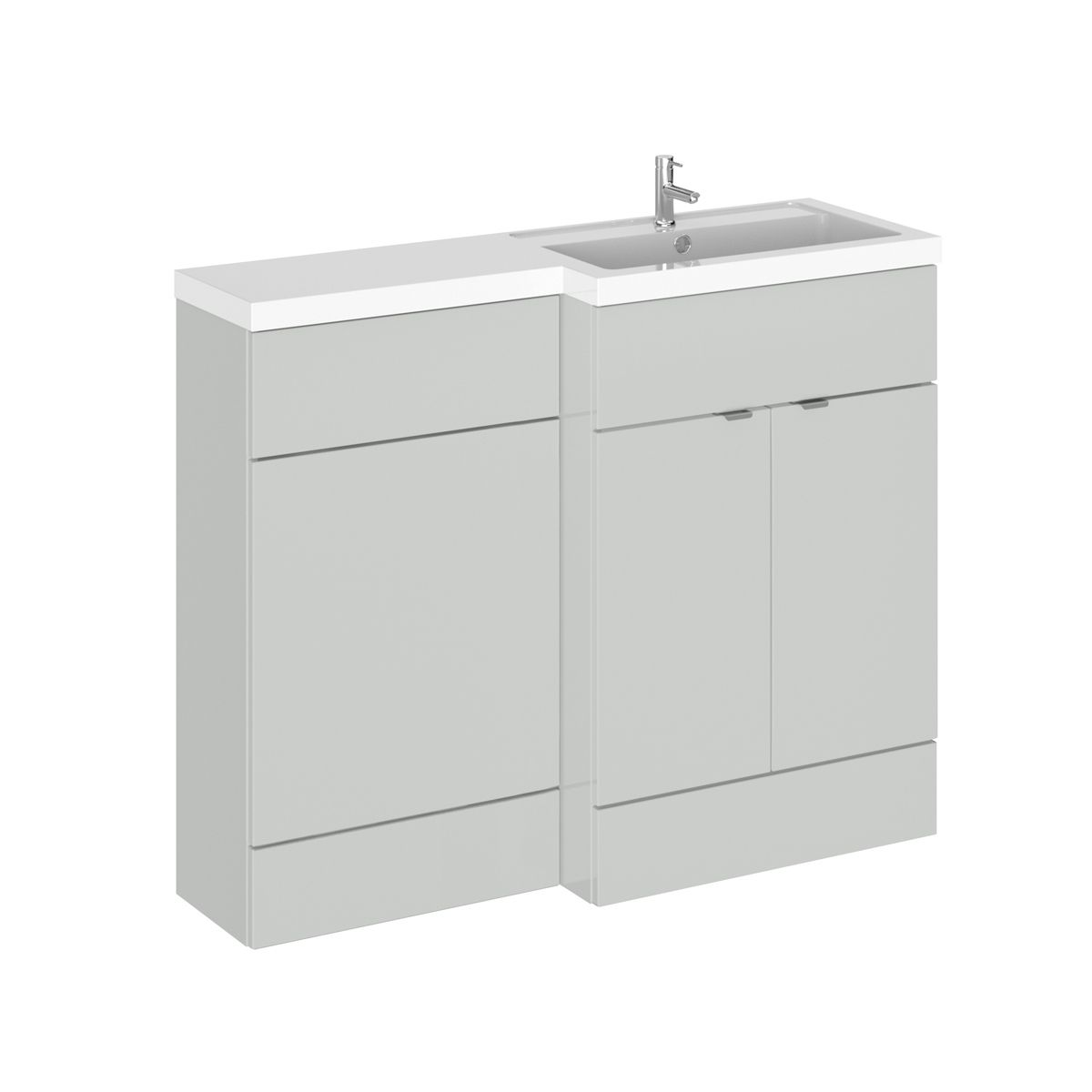 Hudson Reed Fusion Gloss Grey Mist Full Depth Combination Furniture Pack 1100mm Right Hand