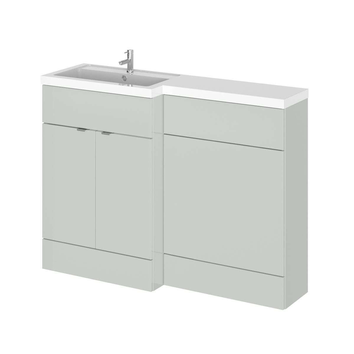 Hudson Reed Fusion Gloss Grey Mist Full Depth Combination Furniture Pack 1200mm Left Hand