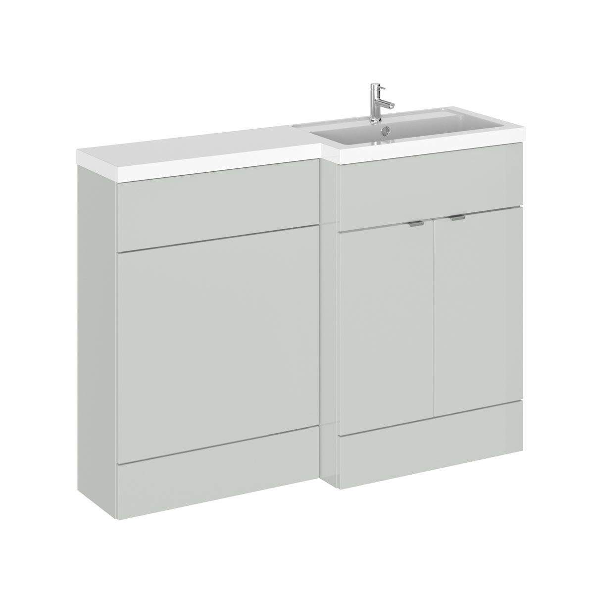 Hudson Reed Fusion Gloss Grey Mist Full Depth Combination Furniture Pack 1200mm Right Hand