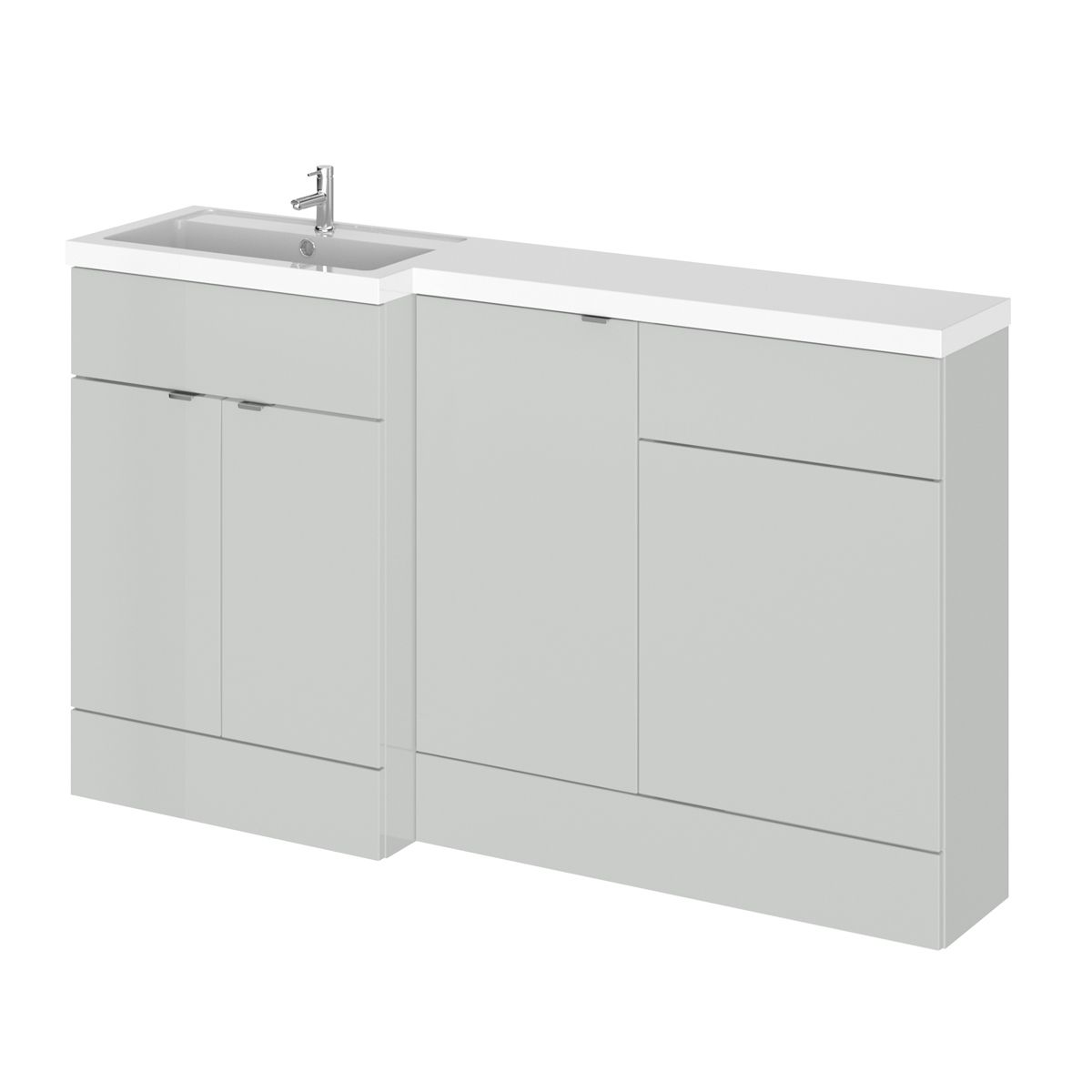 Hudson Reed Fusion Gloss Grey Mist Full Depth Combination Furniture Pack 1500mm Left Hand