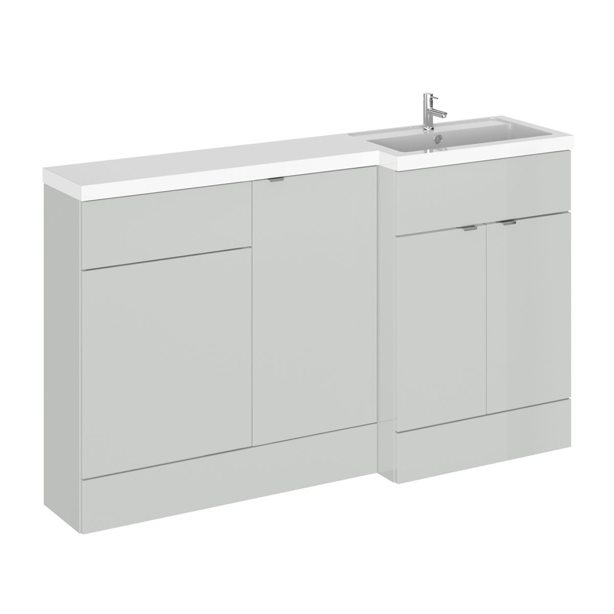 Hudson Reed Fusion Gloss Grey Mist Full Depth Combination Furniture Pack 1500mm Right Hand