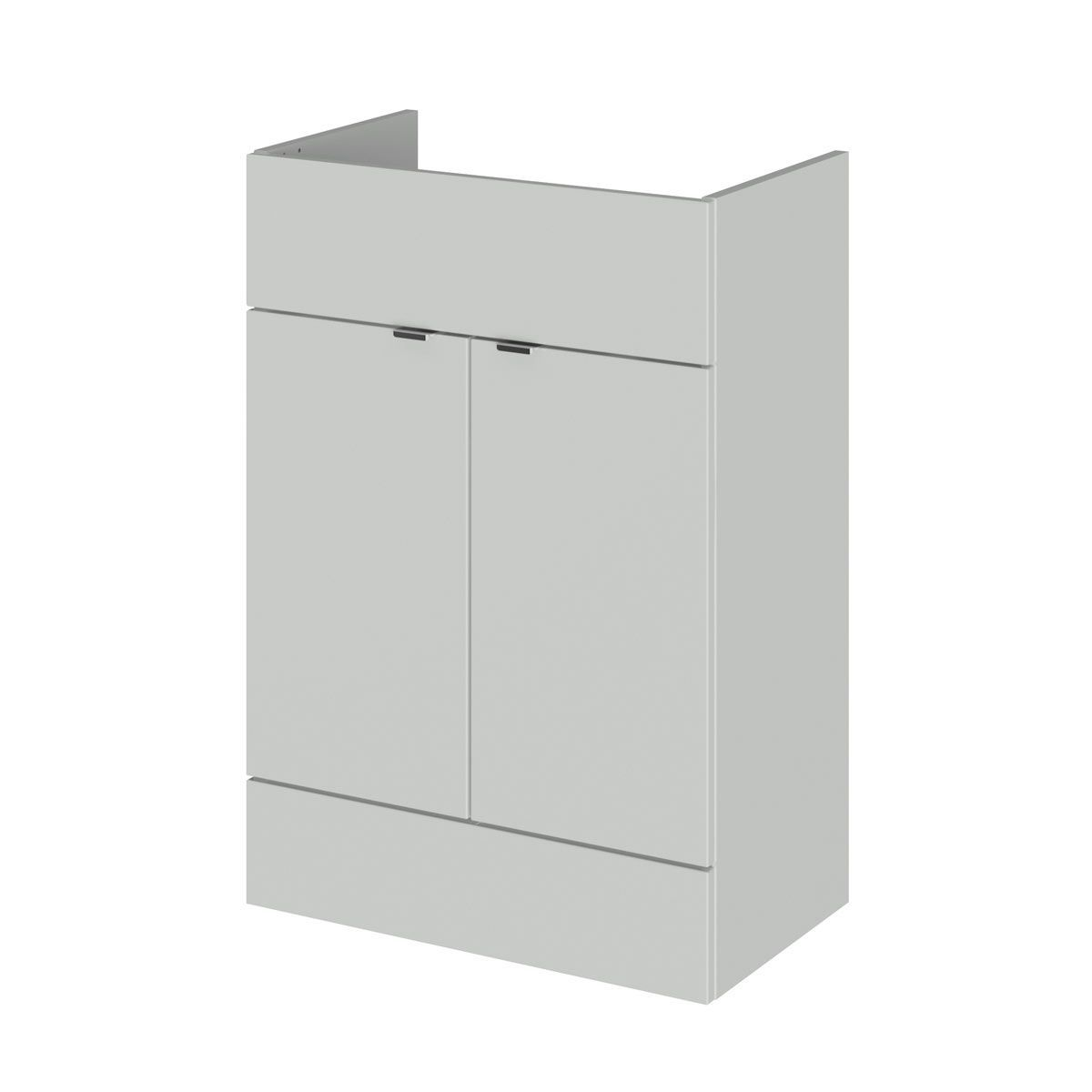 Hudson Reed Fusion Gloss Grey Mist Vanity Unit 600mm
