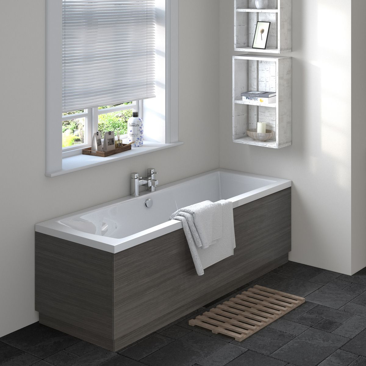 Hudson Reed Fusion Grey Avola End Shower Bath Panel 700mm Lifestyle