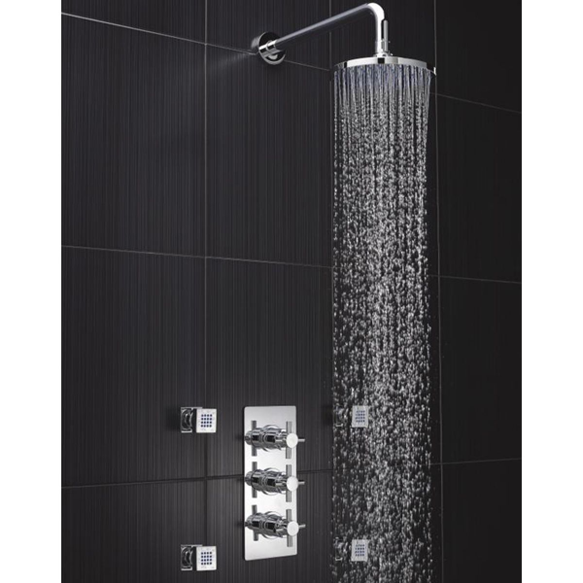 Hudson Reed Kristal Triple Concealed Thermostatic Shower with Fixed Shower Head
