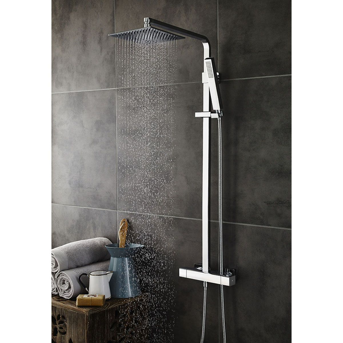 Hudson Reed Luxury Square Brass Complete Shower Kit 1