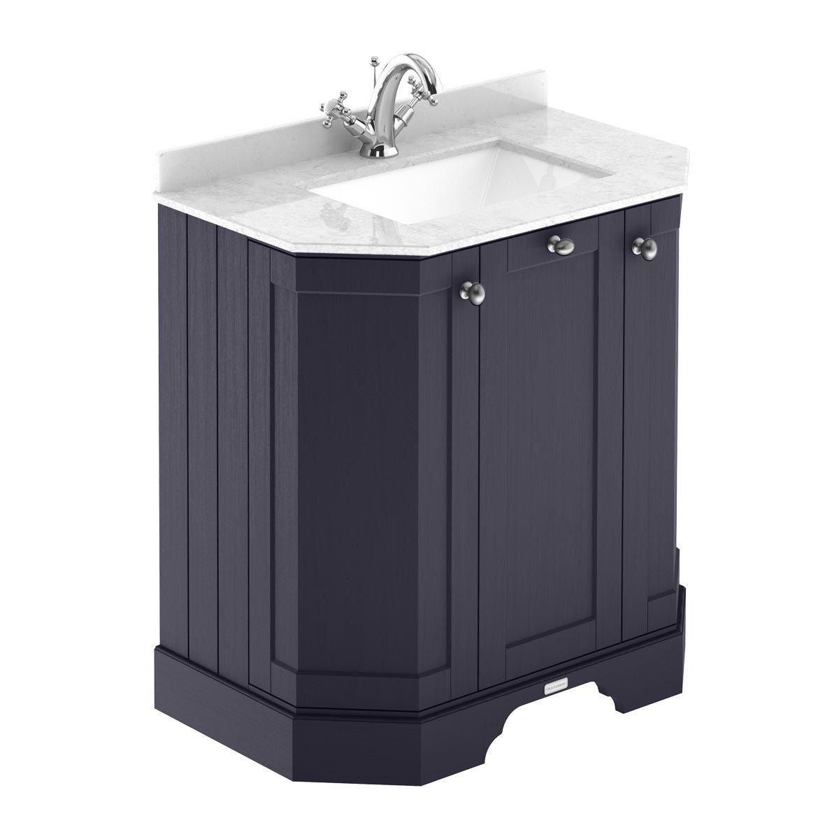 Hudson Reed Old London Twilight Blue Angled Vanity Unit with 1 Hole White Marble Top 750mm