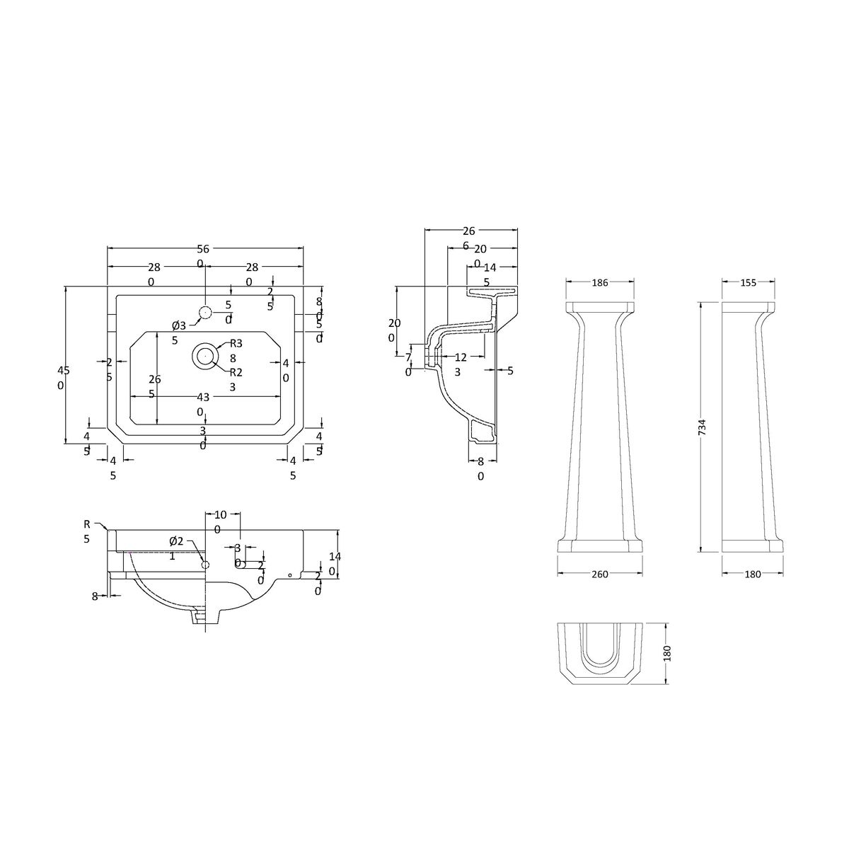 Hudson Reed 1 Tap Hole Basin with Full Pedestal Dimensions