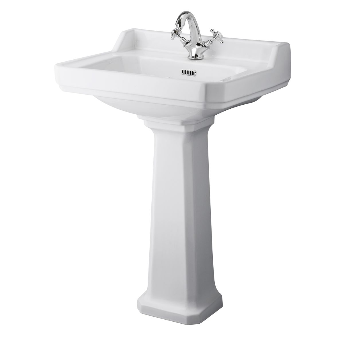 Hudson Reed Richmond 1 Tap Hole Basin with Full Pedestal 600mm