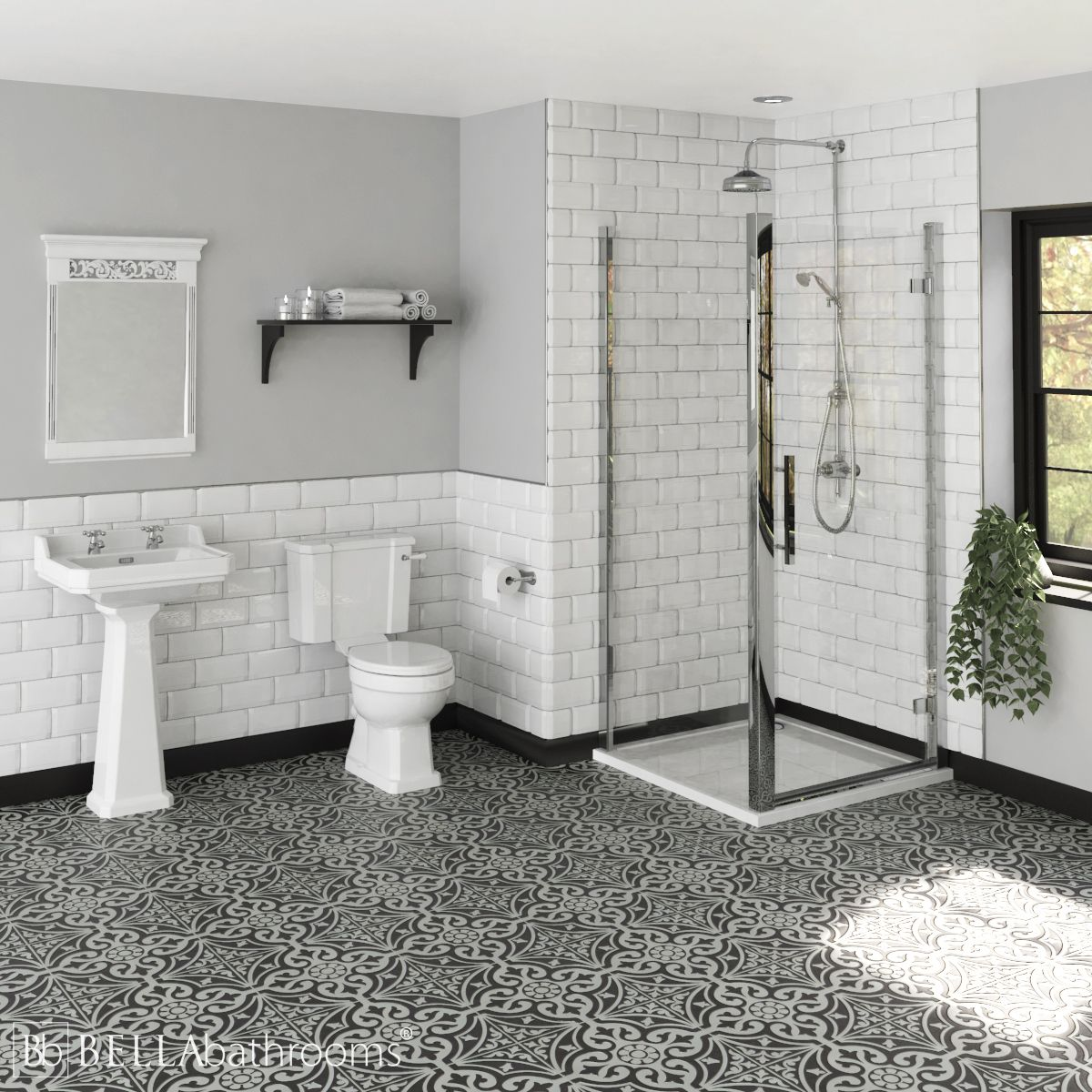 Hudson Reed Richmond Traditional Ensuite with Apex Hinged Shower Enclosure