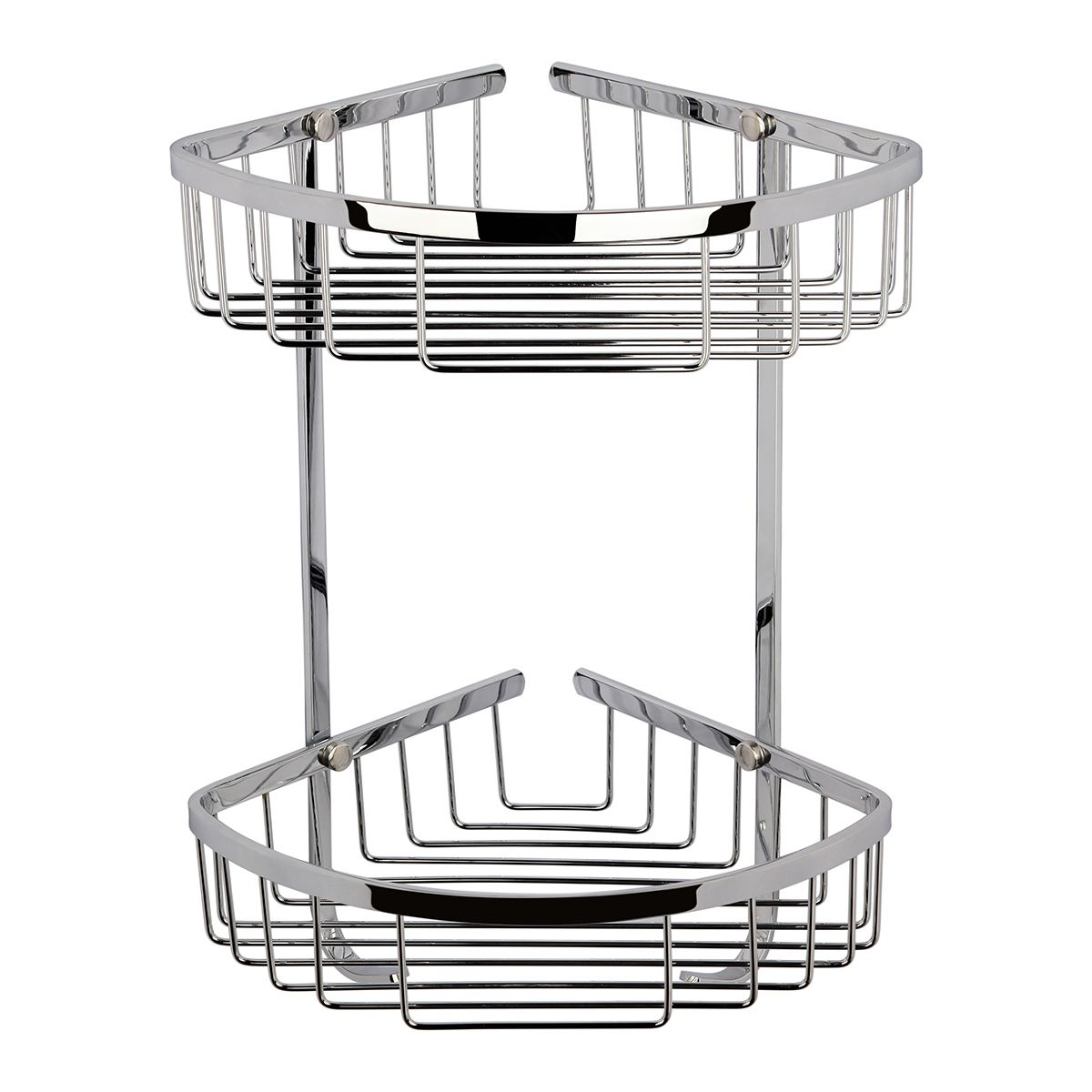 Hudson Reed Chrome Bathroom Large 2 Tier Corner Basket