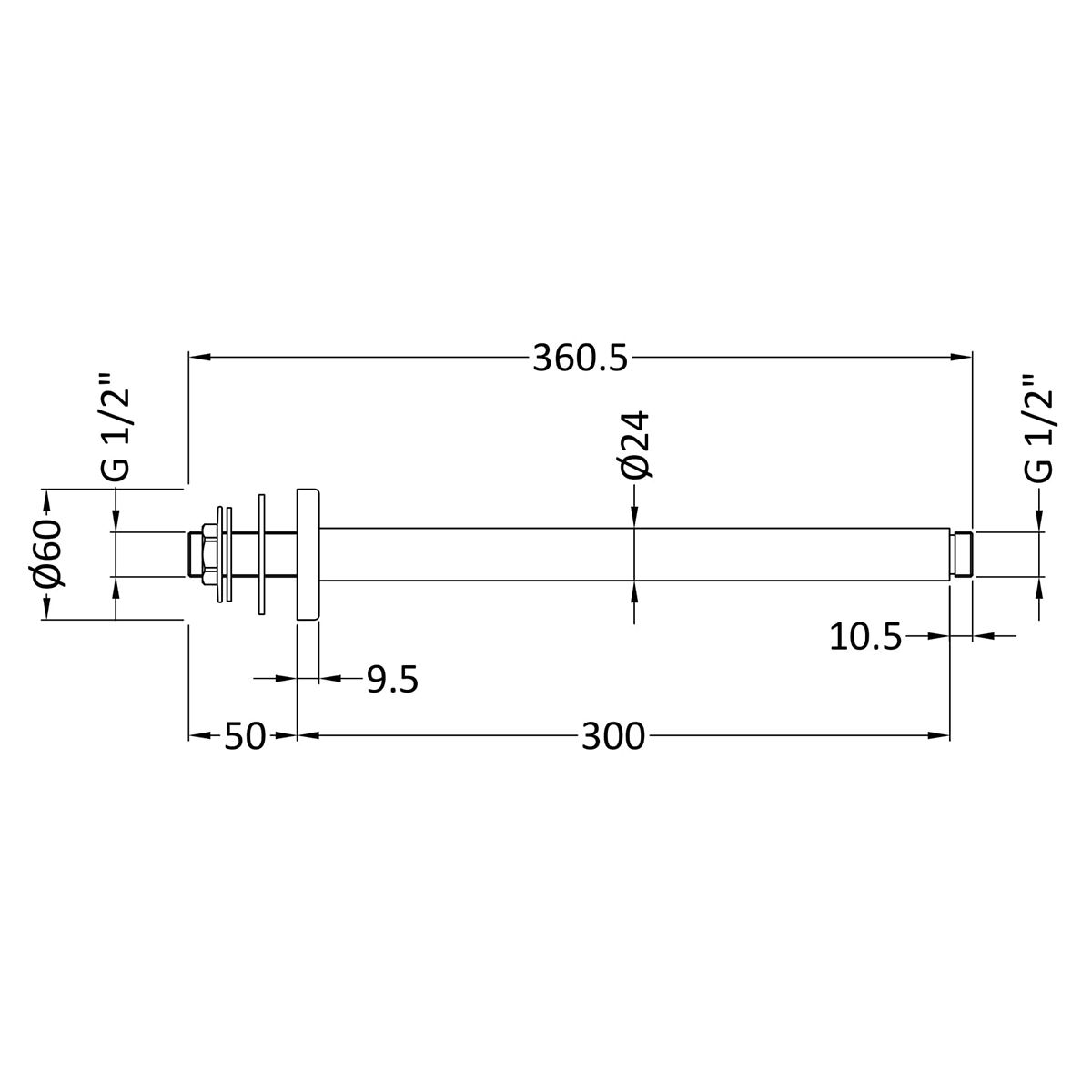 Hudson Reed Round Ceiling Mounted Arm 300mm Line Drawing