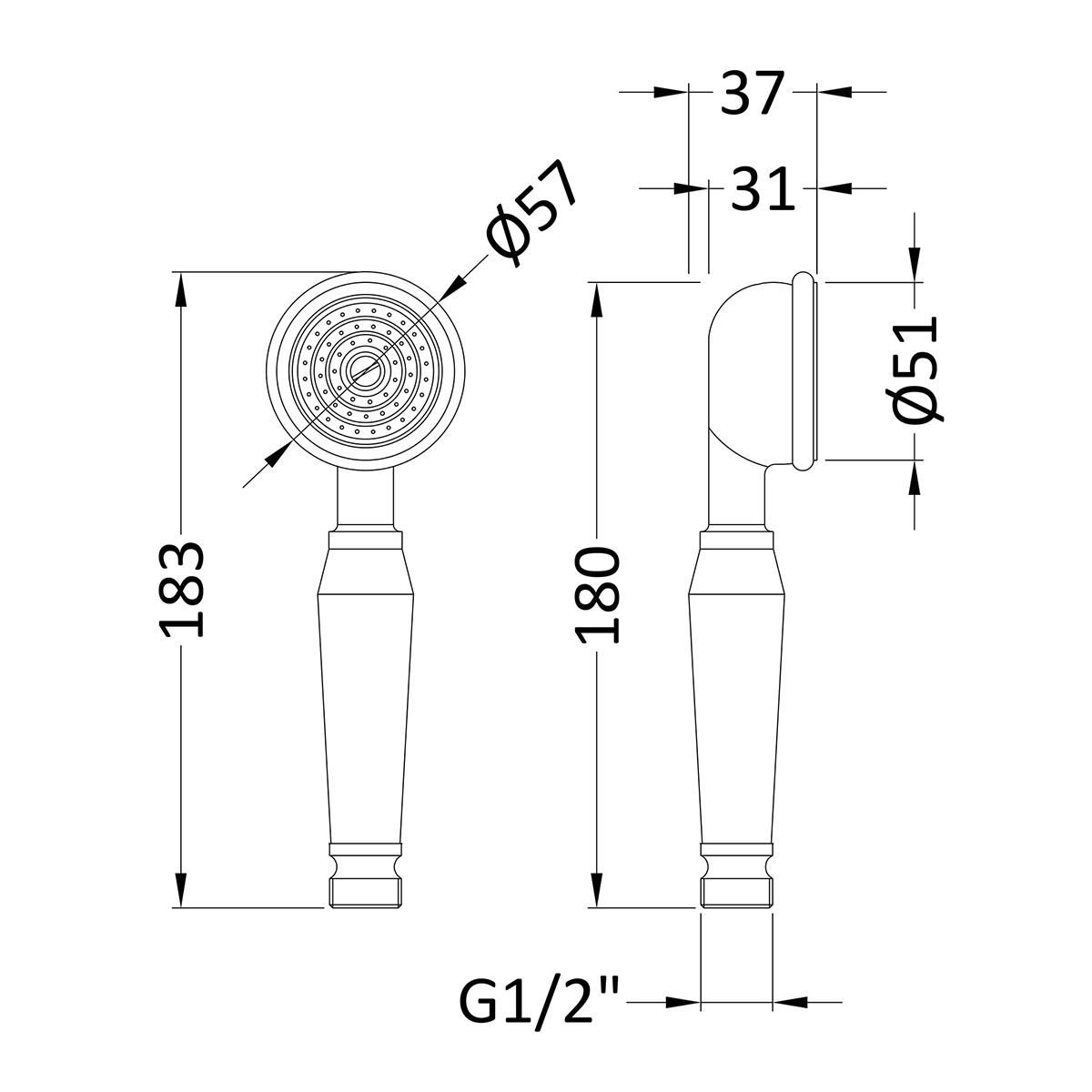 Ultra Small Traditional Shower Handset Line Drawing
