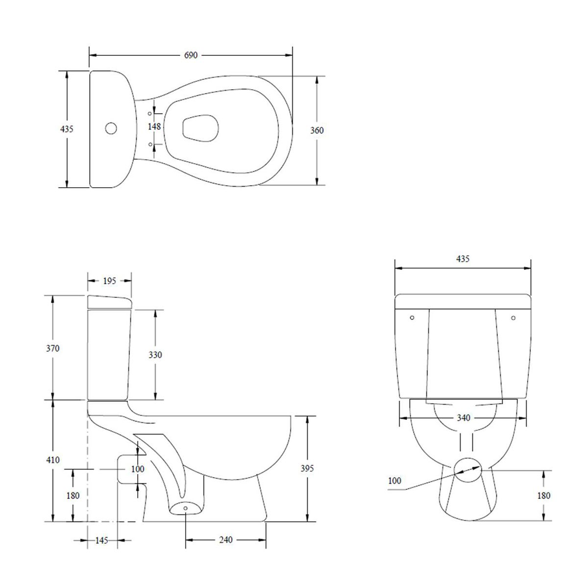 Kartell K-VIT G4K Close Coupled Toilet with Soft Close Seat
