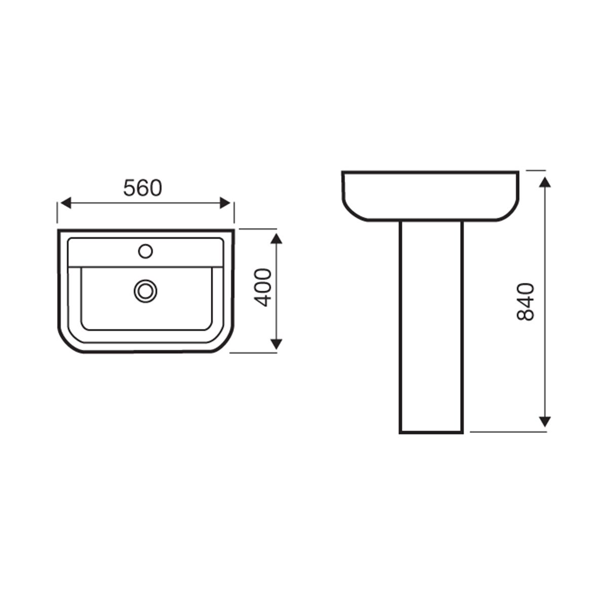 Kartell K-VIT Options 600 1 Tap Hole Basin with Square Pedestal Line Drawing