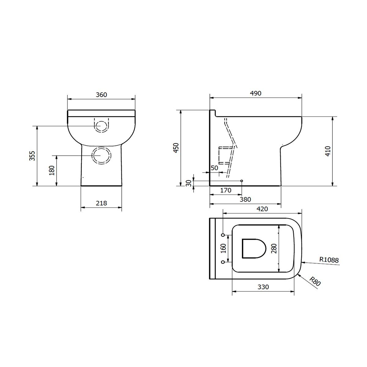 Kartell K-VIT Options 600 Back to Wall Toilet with Soft Close Seat Line Drawing