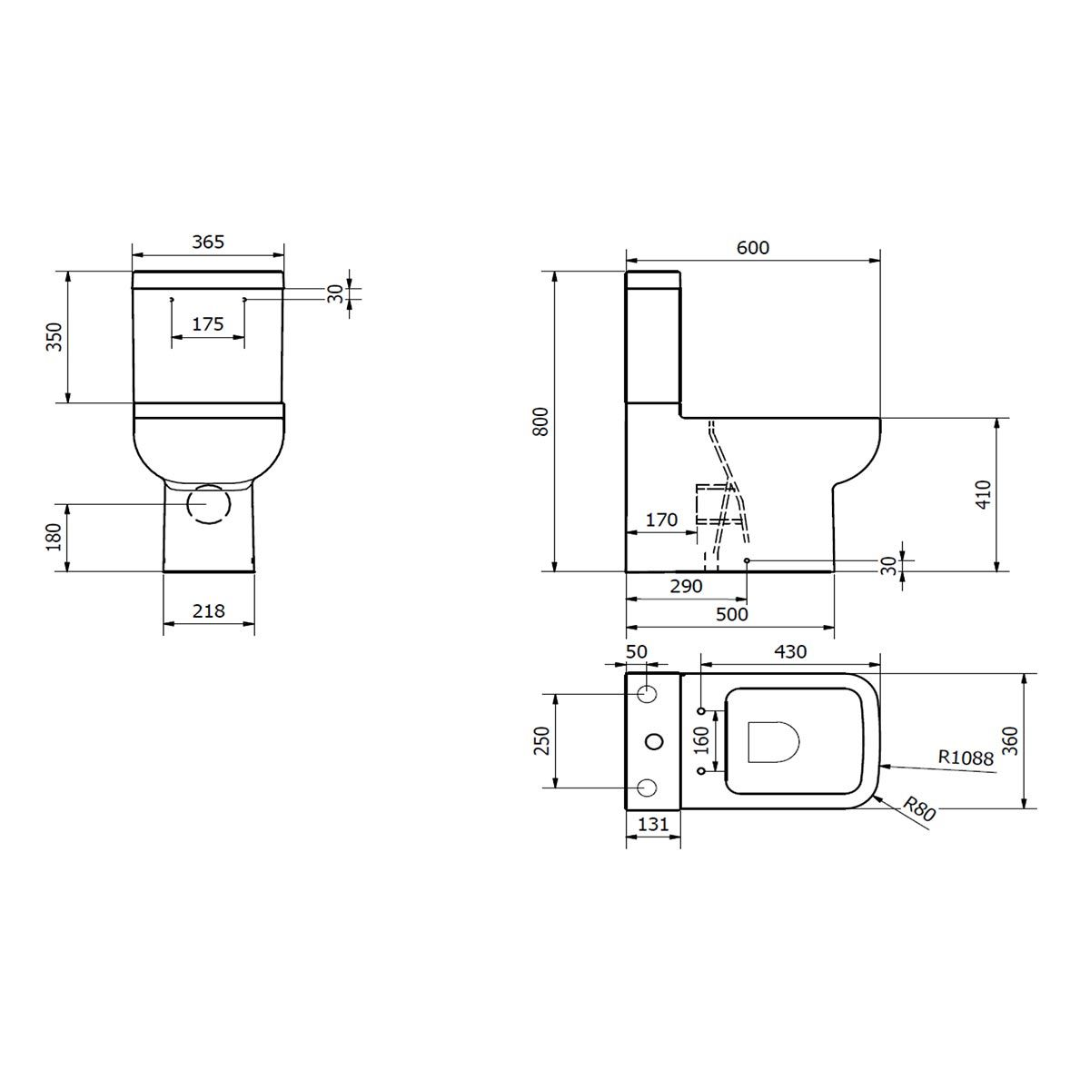 Kartell K-VIT Options 600 Close to Wall Toilet with Soft Close Seat Line Drawing