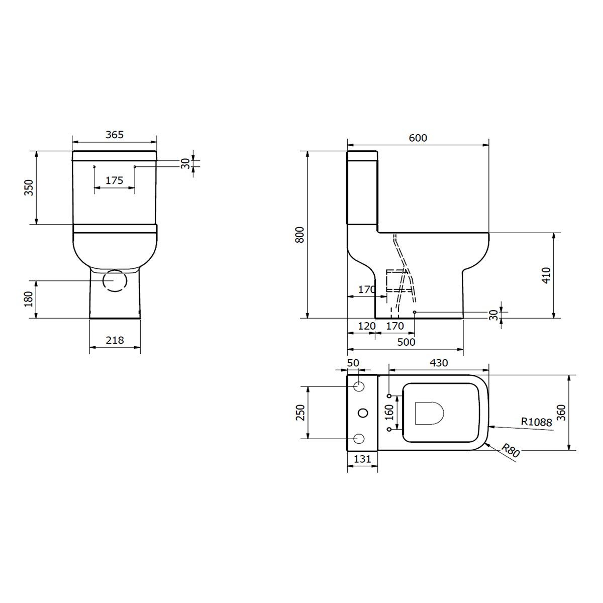 Kartell K-VIT Options 600 Toilet with Soft Close Seat  Line Drawing