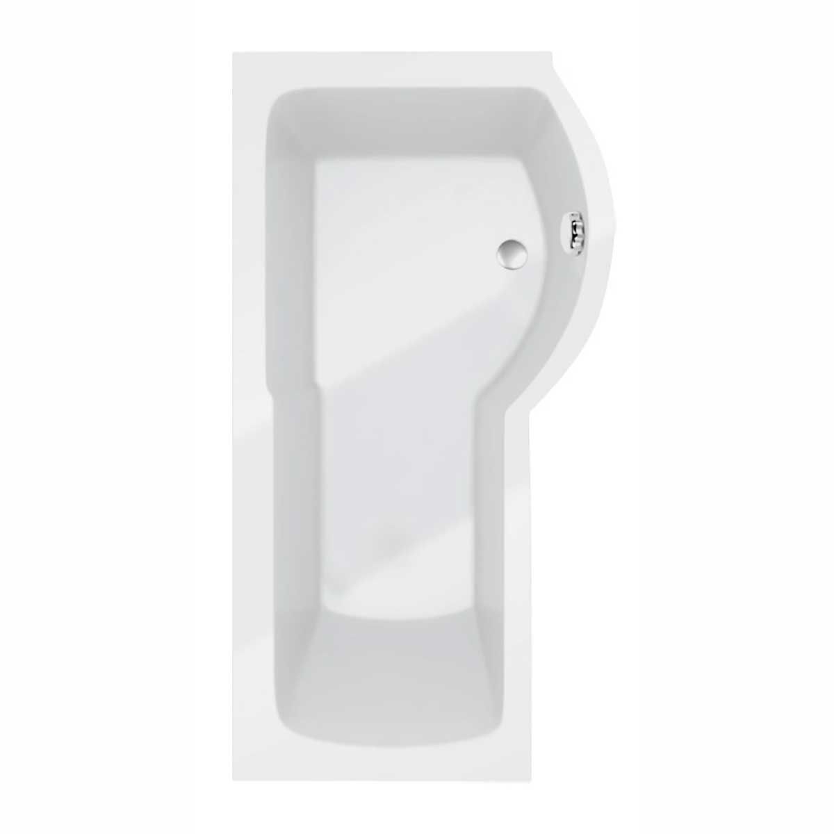 Kartell K-vit White Adapt P Shaped Right Hand Bath Only with leg sets 1500mm