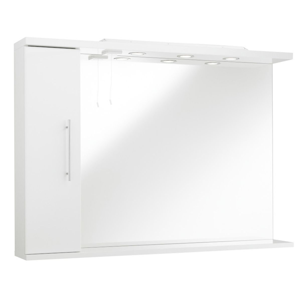 Kartell Encore White Mirror and Light with Side Cabinet 850mm