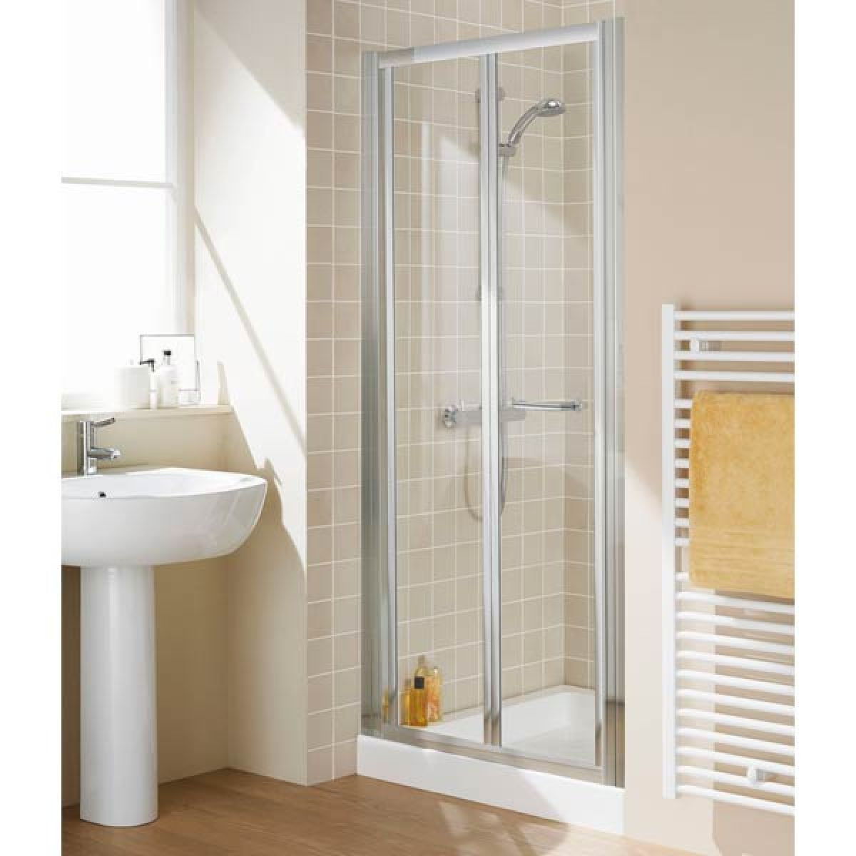 Lakes Silver Semi-Frameless Bi-Fold Shower Door with Optional Side Panel