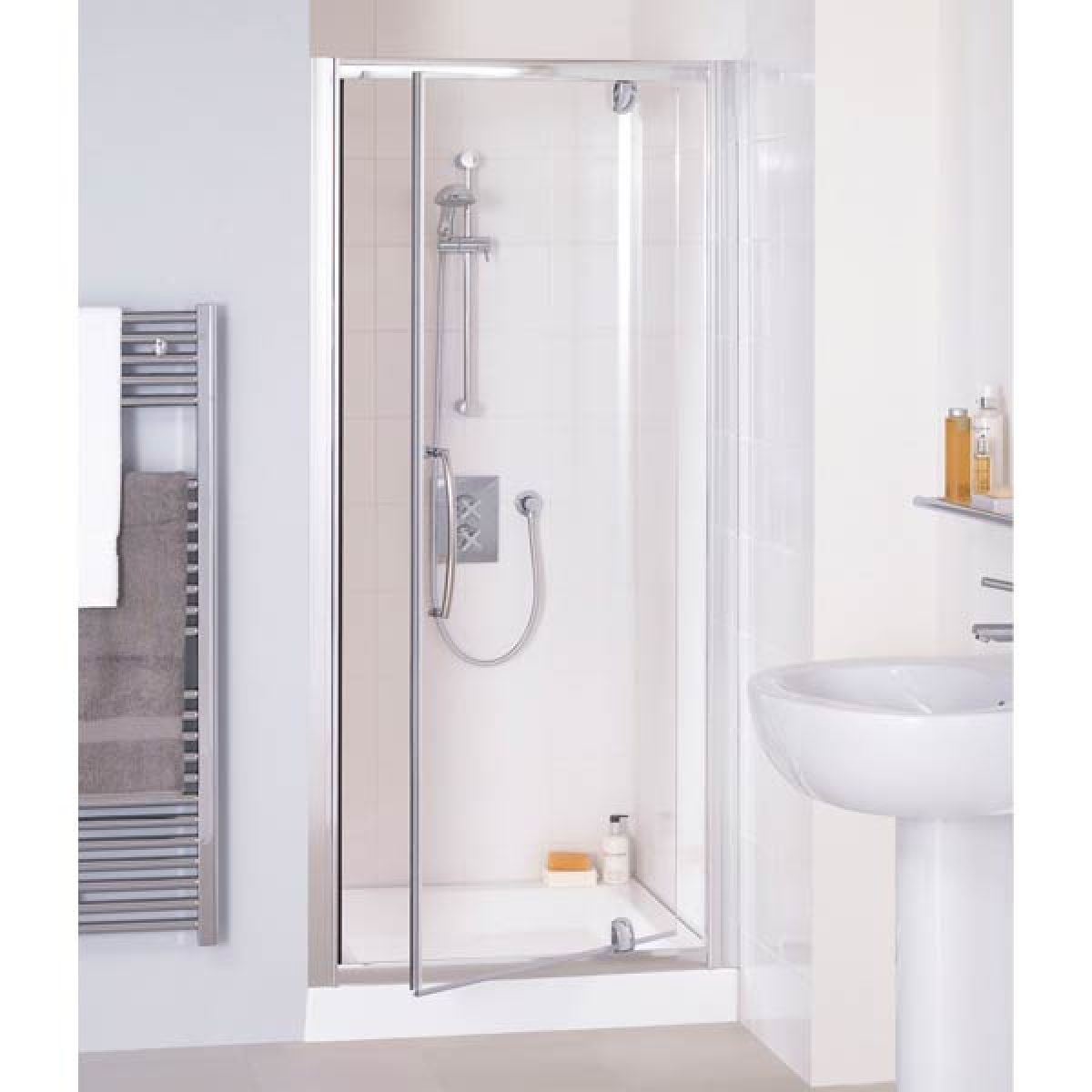 Lakes White Semi-Frameless Pivot Shower Door with Optional Side Panel