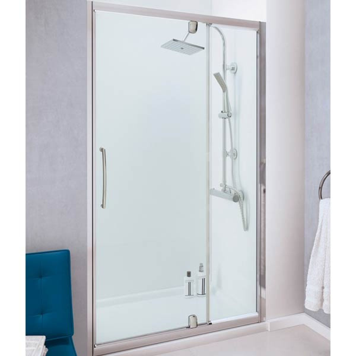 Lakes Silver Semi-Frameless Pivot Door with integrated In-line Panel