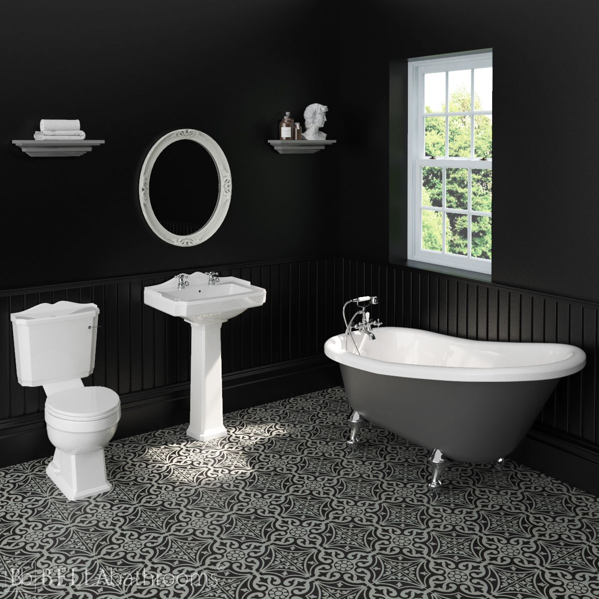 Legend Traditional Suite with Dove Grey Slipper Bath
