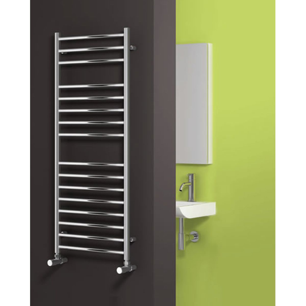Reina Luna Polished Stainless Steel Flat Electric Towel rail 720 x 500mm