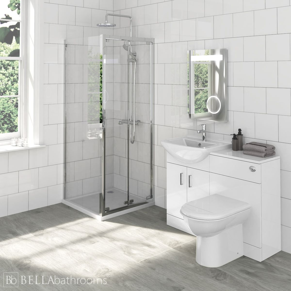 Madison Bathroom Furniture Pack with Ella Bi-Fold Shower Enclosure