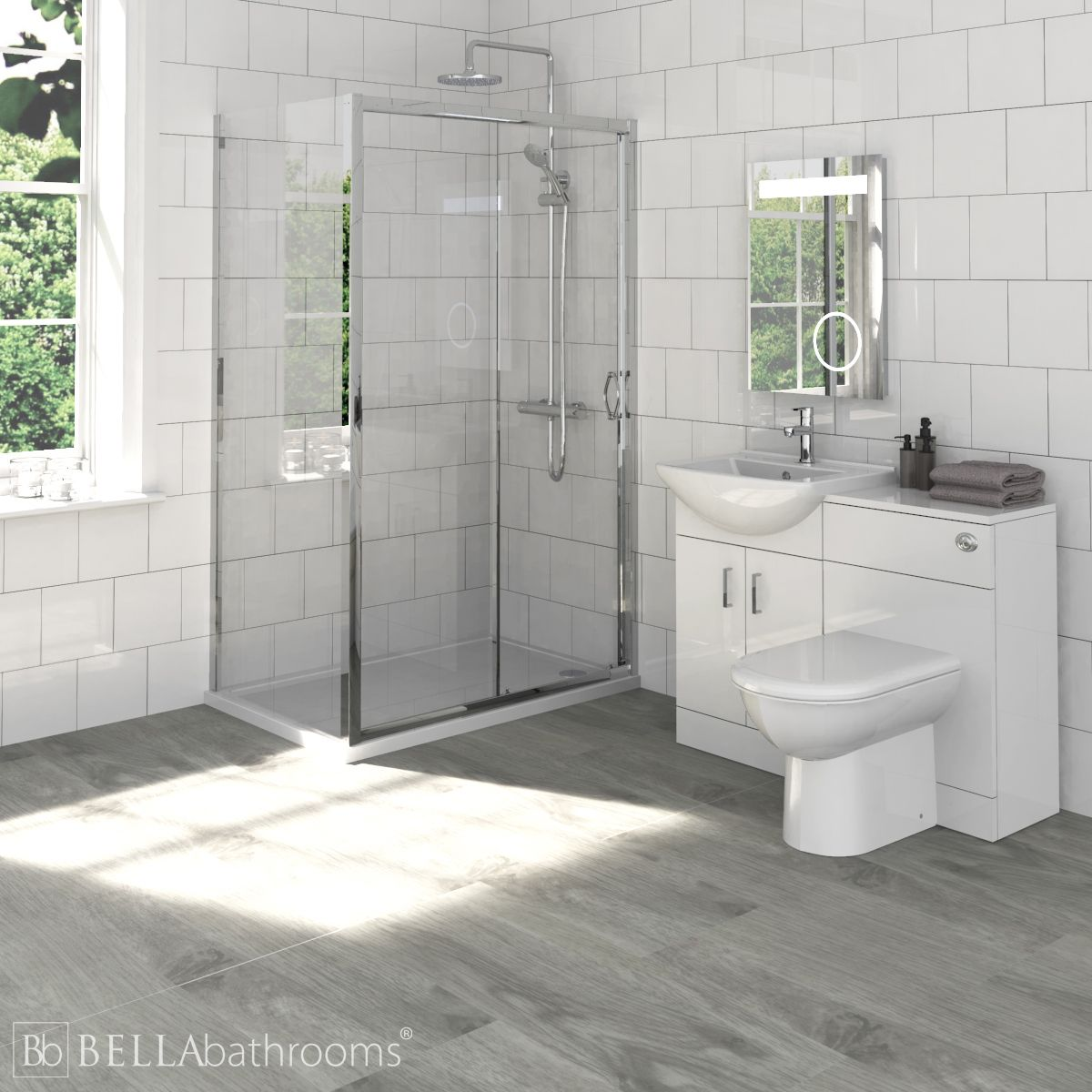 Madison Bathroom Furniture Pack with Ella Sliding Shower Enclosure