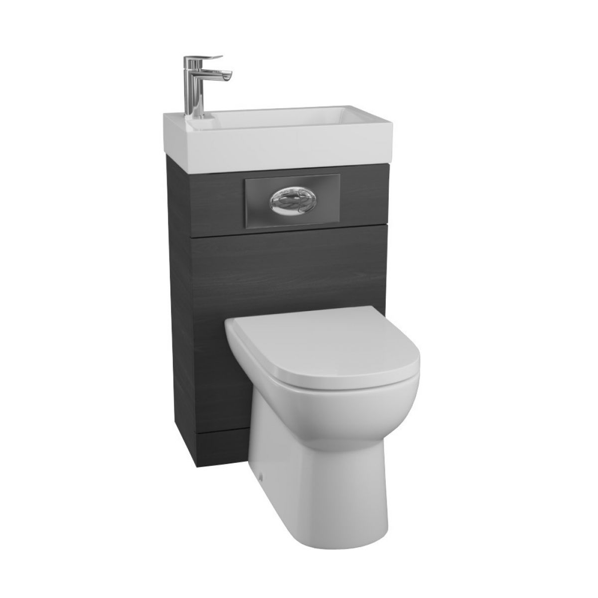 Manhattan Black Ash Space Saving Toilet with Built in Sink