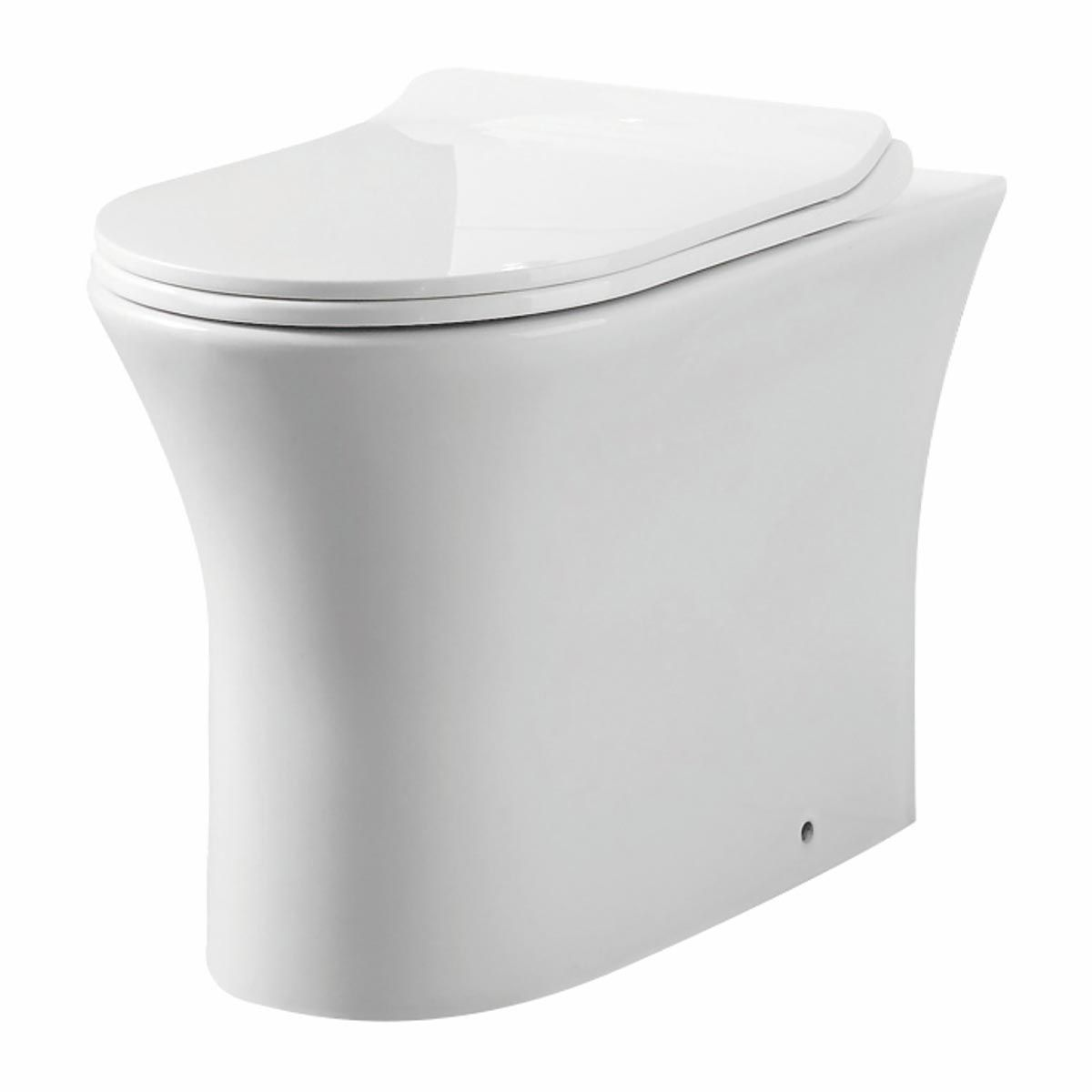 Manhattan Deia Gloss White Rimless Comfort Height Back to Wall Pan with Soft Close Seat