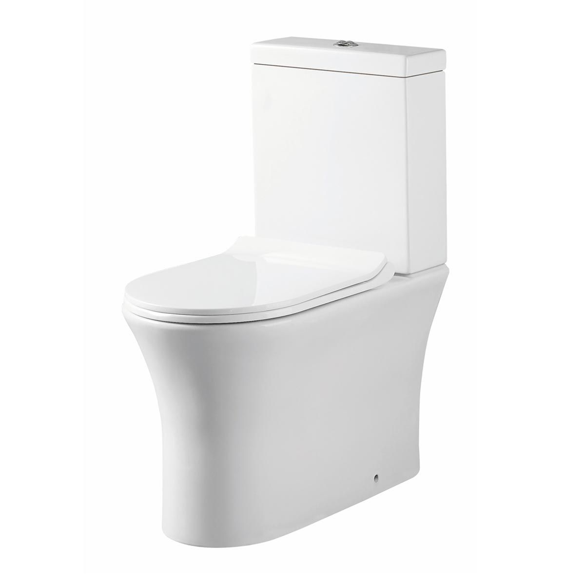 Manhattan Deia Gloss White Rimless Comfort Height Pan Closed Back with Cistern and Soft Close Seat