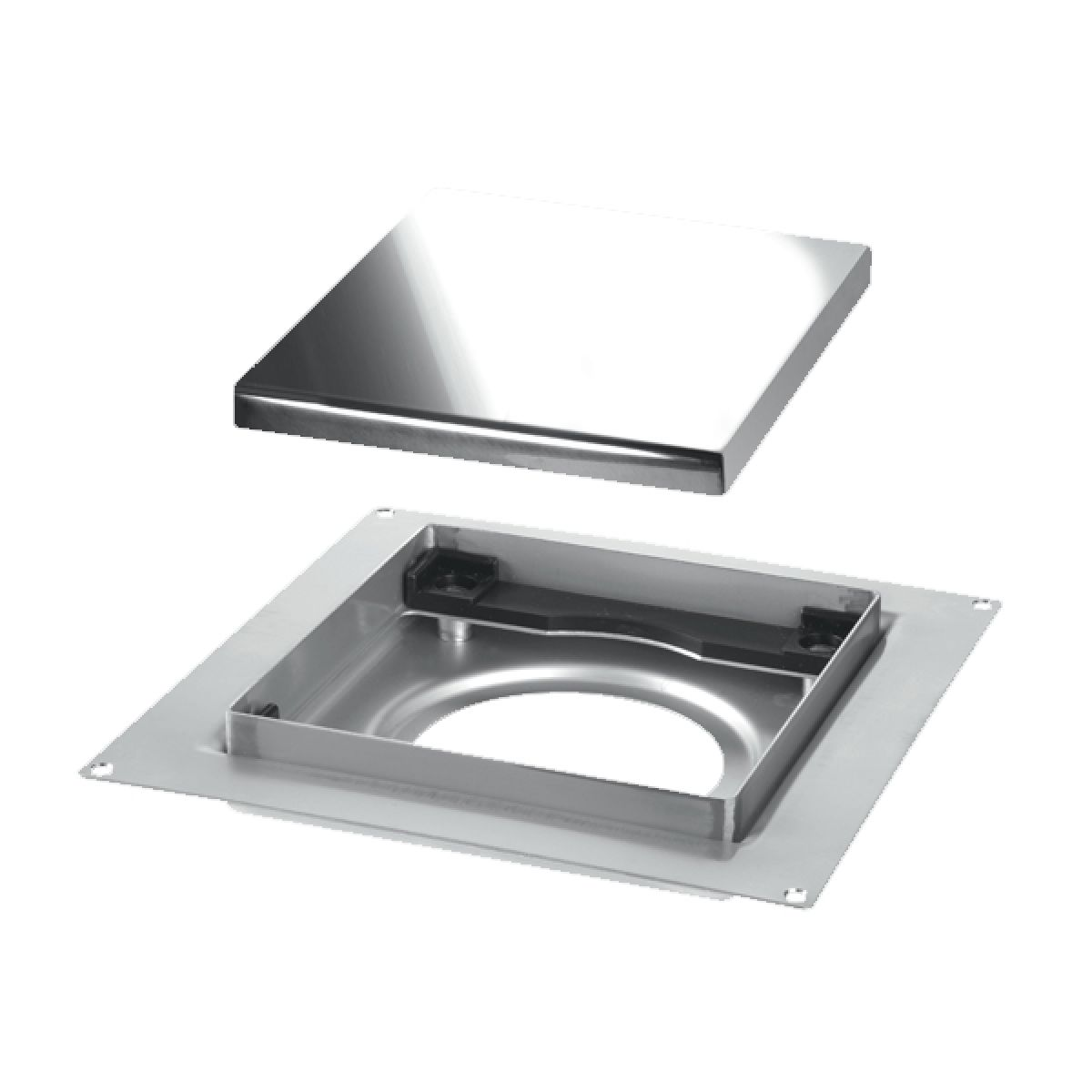 McAlpine 150mm Polished Stainless Steel Tile Drain Plain