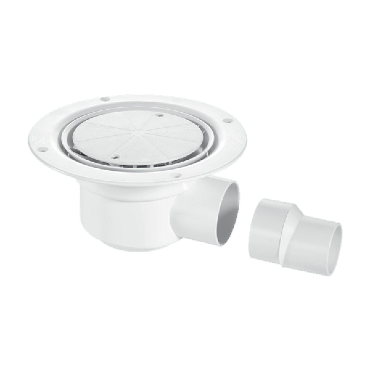 McAlpine TSG50WH 50mm Water Seal Trapped Gully: White Plastic Clamp Ring and Cover Plate