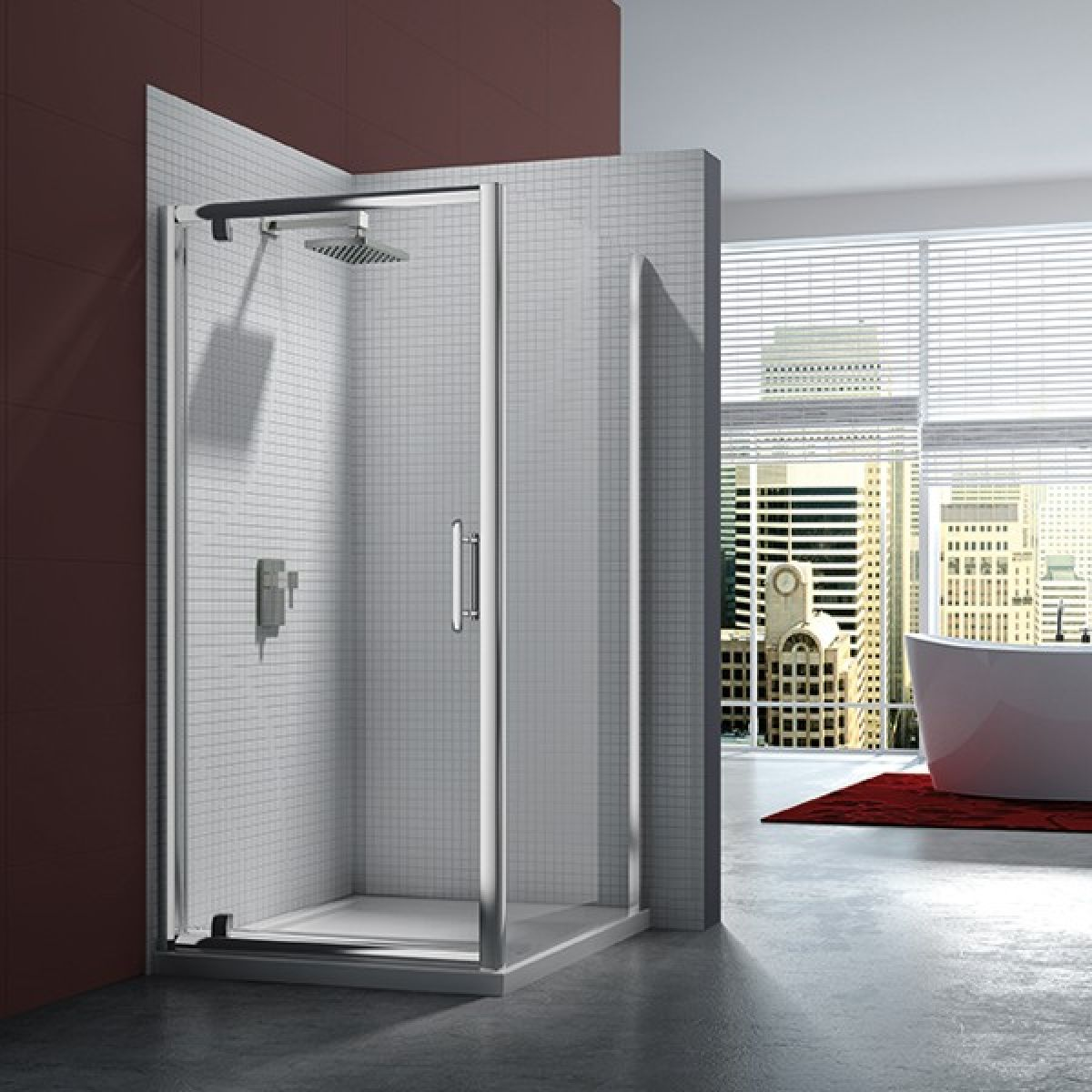Merlyn Series 6 Pivot Door with Optional Side Panel