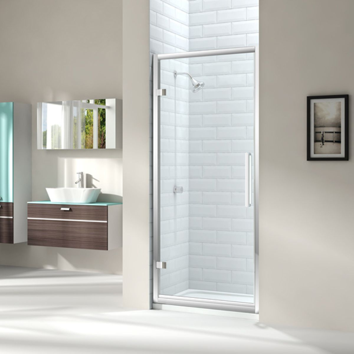 Merlyn Series 8 Hinged Shower Door with Optional Side Panel