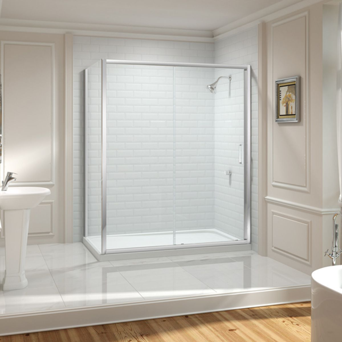Merlyn Series 8 Sliding Door with Optional Side Panels