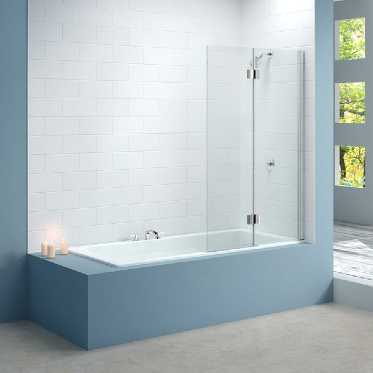 Merlyn Two Panel Hinged Bath Screen Right Hand