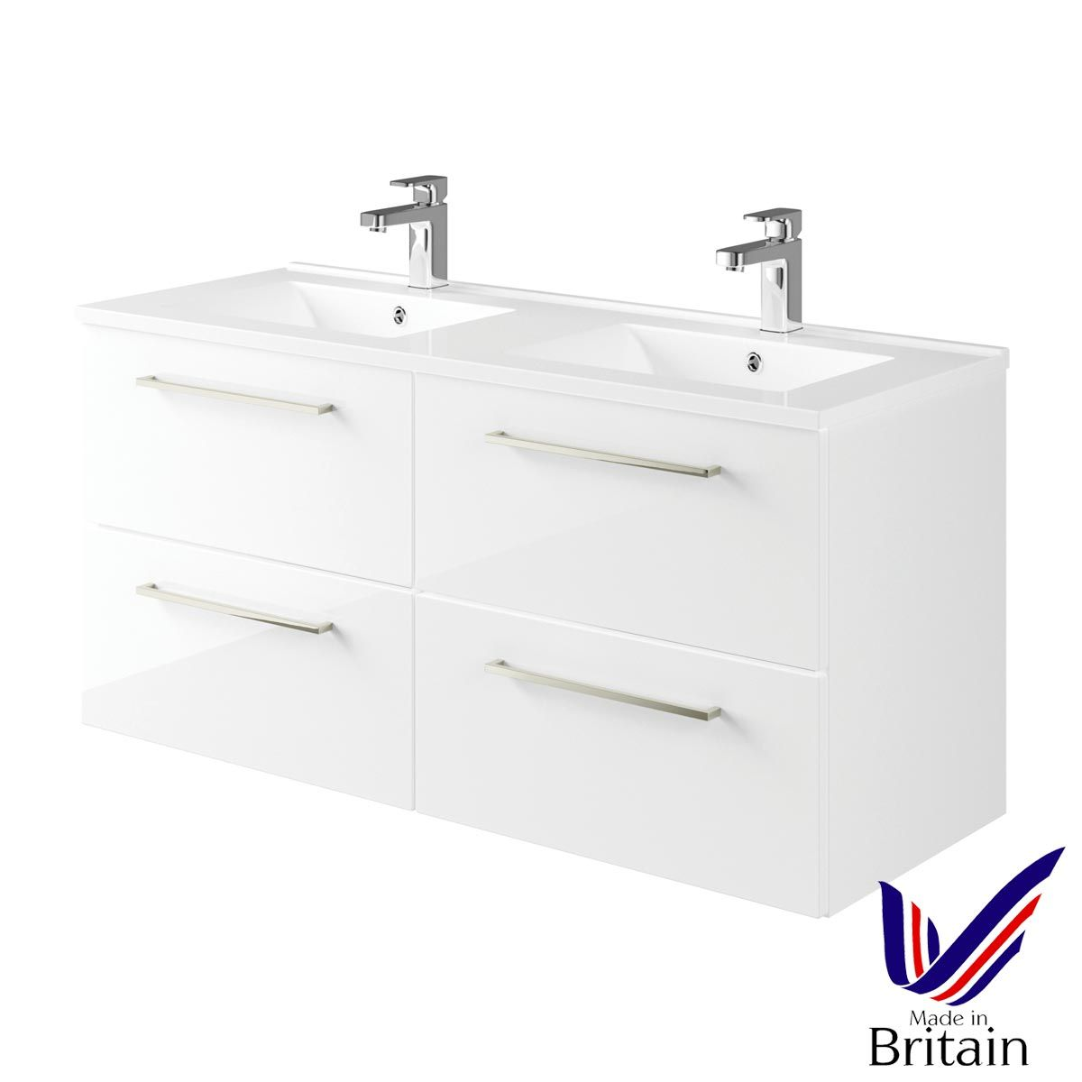 Mito White Gloss Wall Hung Double Vanity Unit 1200mm