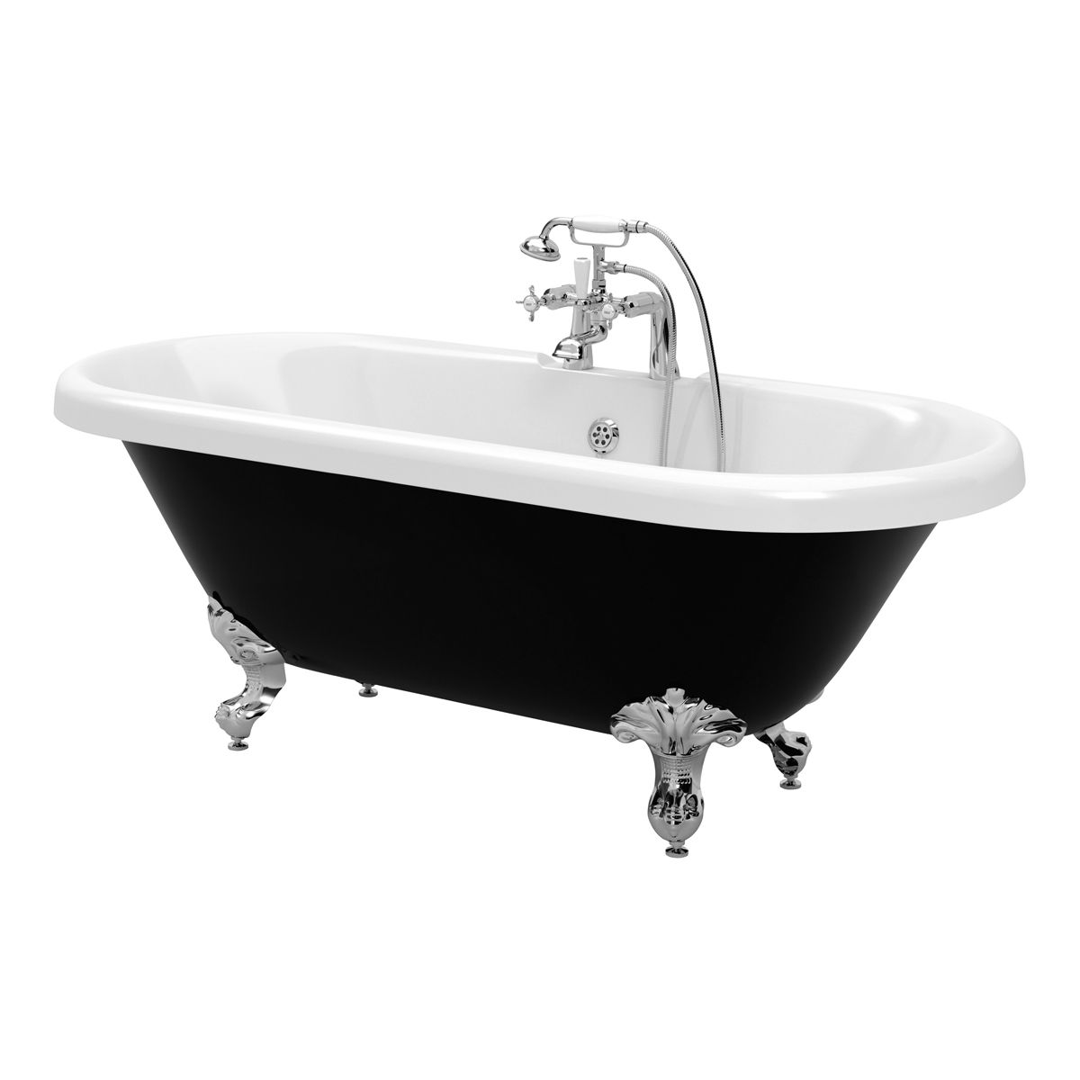 Moods Richmond Black Freestanding Roll Top Bath 1690mm