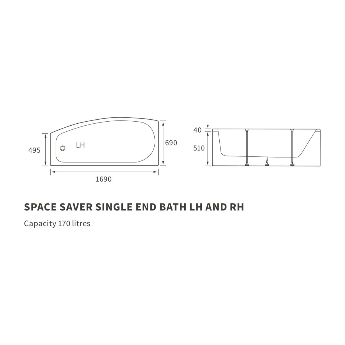 Moods Space Saver Single Ended Bath Dimensions